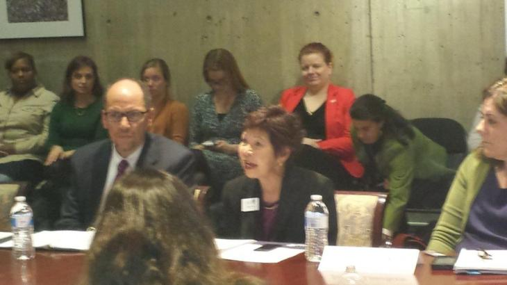 Presenting AAUW's advocacy for women's economic security at Department of Labor Roundtable with Secretary Perez